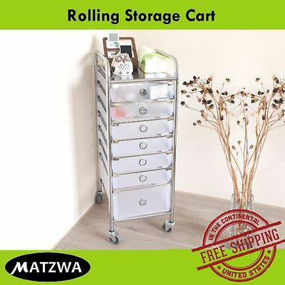 Rolling Storage Cart - Stylist Station, Salon Spa Stand, Office Drawer Credenza
