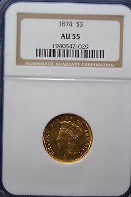 1874 $3 Gold NGC AU 55 coin