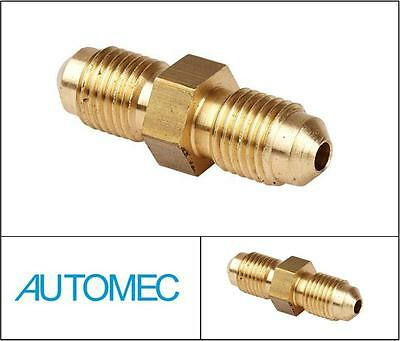 AUTOMEC Brake Pipe Brass Union Fitting 2 Way Connector Male 3/8 UNF 3/16 Pipe