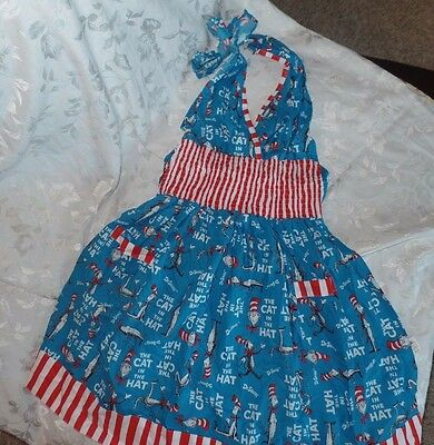 Cat in the Hat Dr Seuss Women's Full Apron Blue Red New