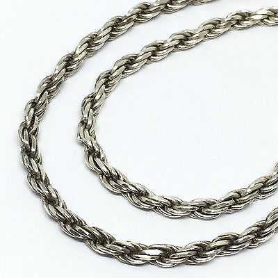 ITALY STERLING SILVER 925 2mm Twist Rope Chain Anklet 25cm