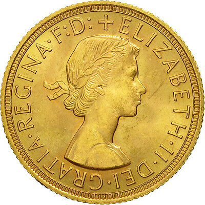 [#506857] Great Britain, Elizabeth II, Sovereign, 1958, MS(63), Gold, KM:908