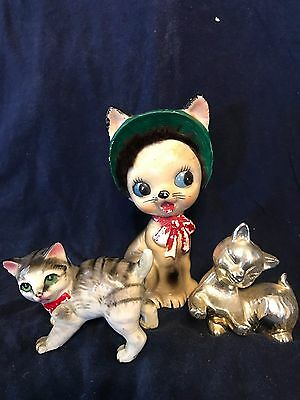 Vintage Ceramic/Porcelain Cat Figurines Lot of (3)
