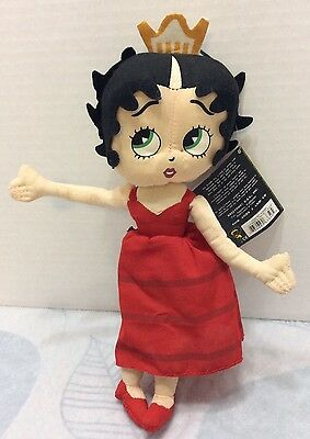 "Barcelona Betty Hoop Plush 11"" Stuffed Toy NWT Kellytoy 2006 Red Dress Crown"
