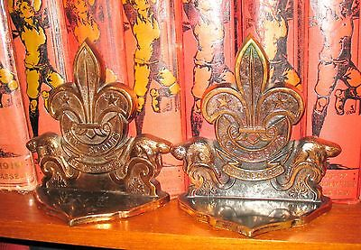 Vintage Boy Scout Bookends Metal Cast Scouts Cubs Scouting Beaver Canada