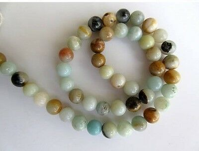 Amazonite Large Hole Gemstone 8mm Smooth Round Mala Beads 15 Inch Strand GDS552