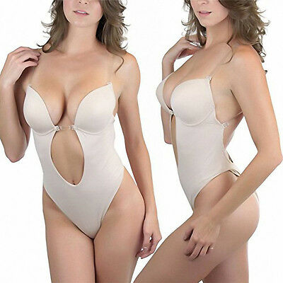 25a36612999f Strapless Body Shaper Thong Deep Plunge Backless Clear Convertible Bras Sz S -XL