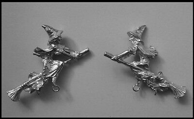 PEWTER CHARM #429 WITCH FLYING BROOM 2 bails DOUBLE SIDED joiner 53mm x 50mm