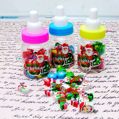 Rubber Pencil Eraser Set Stationery Kid Children Novelty Xmas Gift Santa Tree