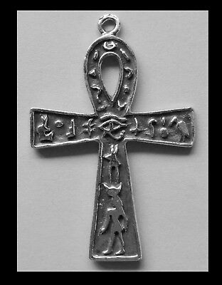 PEWTER CHARM #424 ANKH Eye Horus & Egyptian symbols 53mm x 35mm