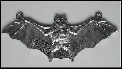PEWTER CHARM #432 BAT with open wings flying 2 bails at top 85mm x 35mm