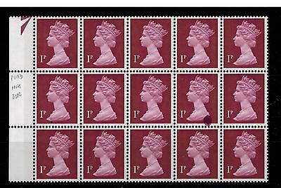 ERROR ON STAMP 1p PVAD   WITH    PRINTER'S COLOUR SMUDGE BLOB OF INK
