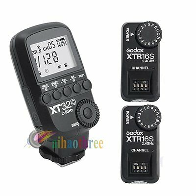 Godox XT32C 2.4G Wireless Flash Trigger 1/8000s + 2x XTR-16S Receiver For Canon