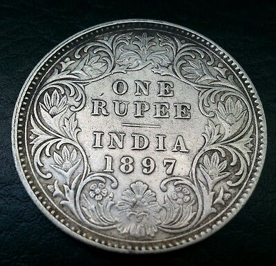 British India 1 Rupee 1897 Victoria Empress 'c' Key Date Rare Coin L@@k!
