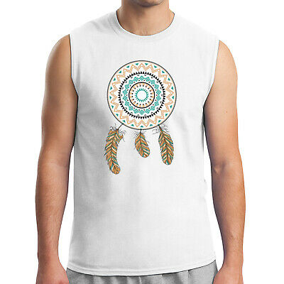 Dream Catcher Men's Sleeveless Feather Native American Pride Muscle Tee - 1675C