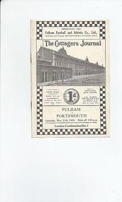 Fulham v Portsmouth London Combination Football Programme 1932/33