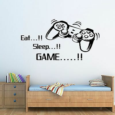 Kids/Adult Gamer Eat..Sleep..Game Wall Art Sticker Bedroom Decal Mural