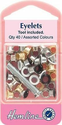 Hemline Eyelet Kit - H435 - size 5.5mm - 40 Assorted Colours - Tool Included