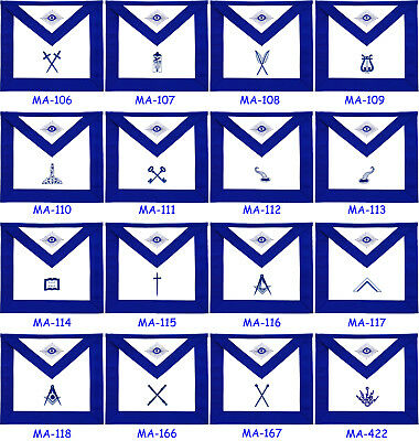 Masonic Blue Lodge Officer Aprons - Set Of 11 Aprons Hand Embroidered (Bloas-11)
