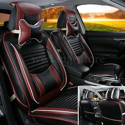 Black PU Leather Full Surround Breathable Seat Cover Cushion Set For 5 Seat Car