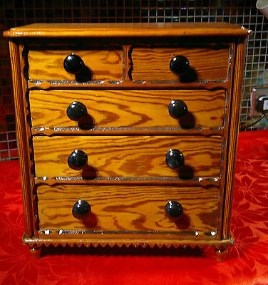 "Antique Miniature Chest of Drawers 3+2 Apprentice Piece 14"" Tall"