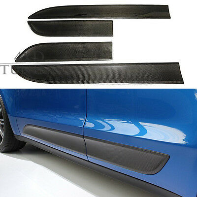 4 PCS For Porsche Macan 2014 + Carbon Fiber Door Side Moulding Trim Plate Cover