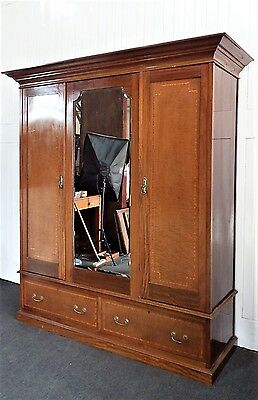 Antique Victorian large inlaid Double wardrobe.