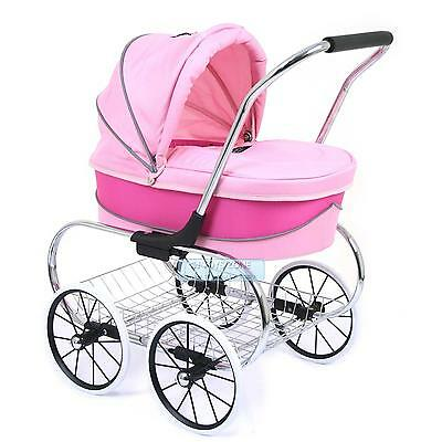 Valco Baby Just Like Mum Deluxe Princess Doll Pram Stroller Hot Pink Pretend Rol