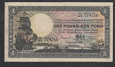 South Africa 1 Pound 1945  VF  P. 84,    Banknote, Circulated