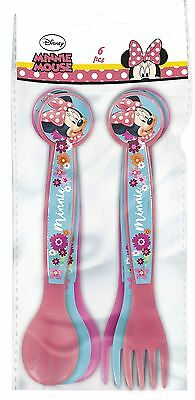 Disney Minnie Mouse Multicoloured 6 Piece PP Cutlery Set - 3 Forks & 3 Spoons