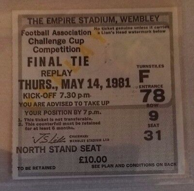 1981 F.A. CUP FINAL REPLAY MATCH TICKET WEMBLEY STADIUM MANCHESTER CITY v SPURS