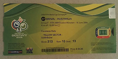 2006 WORLD CUP FINALS GERMANY - MATCH TICKET - GAME 27. BRAZIL vs. AUSTRALIA