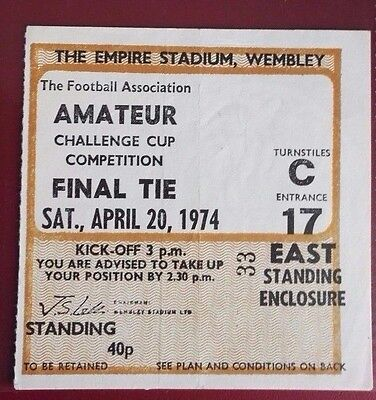 1974  F.A. AMATEUR CUP FINAL TICKET BISHOP'S  vs. ILLFORD @ WEMBLEY  LAST FINAL