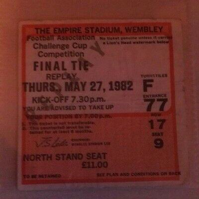 1982 F.A. CUP FINAL REPLAY  MATCH TICKET WEMBLEY STADIUM. SPURS  vs. Q.P.R. (F)