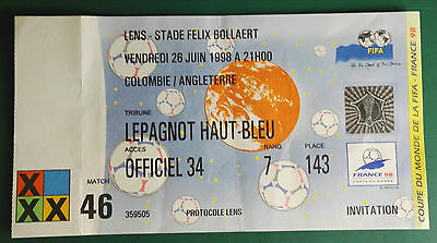 1998 WORLD CUP FINALS - MATCH TICKET. ENGLAND vs COLUMBIA - GROUP 26/6/98