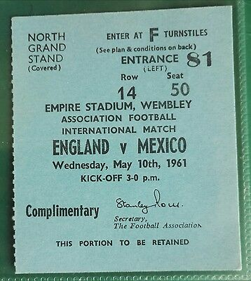 1961 ENGLAND vs. MEXICO  MATCH TICKET - INTERNATIONAL WEMBLEY STADIUM