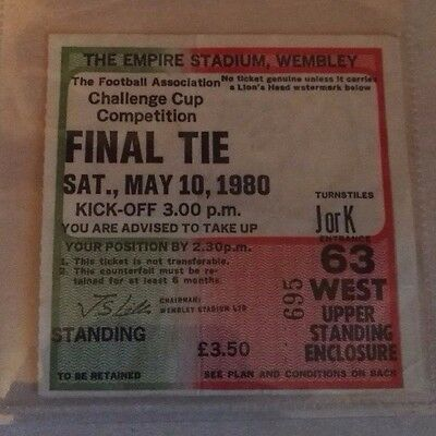 1980 F.A. CUP FINAL MATCH TICKET WEMBLEY STADIUM  ARSENAL vs. WEST HAM. NO. 695