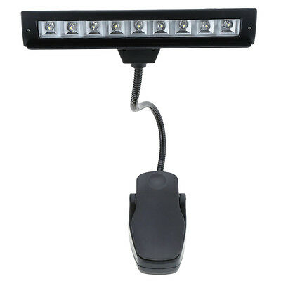 9 LEDs LED Reading Lamp Reading Light Desk Clip Lamp for Piano music score F1J4