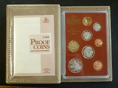 Australia 8-Coin Proof Set 1988 in RAM Perspex Case Of Issue FDC + COA