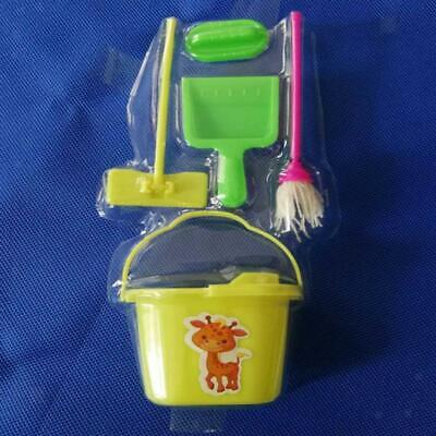For Barbie Doll House Miniature Accessories Mop Bucket Cleaning Tools Set