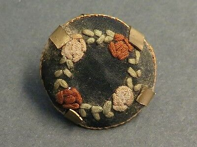 Antique Fabric Button - Embroidered Flowers in Claw Frame / Shank