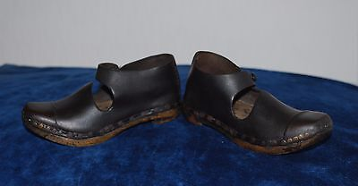 Antique Leather & Wood Handmade Pair Of Clogs For Child
