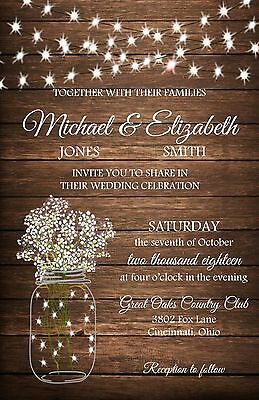Wedding Invitations Flowers & Lights Rustic Country 50 Invitations & RSVP Cards