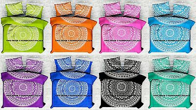 Queen Indian Ombre Mandala Duvet Cover Quilt Indian Blanket With 2 Pillow Cover