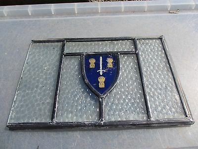 Antique Stained Glass Window Panel Vintage Old Leaded Blue Shield Crest Sword