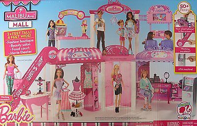 Mattel Barbie Deluxe Malibu Ave Shopping Mall Playset Doll House 50+ Pieces NEW