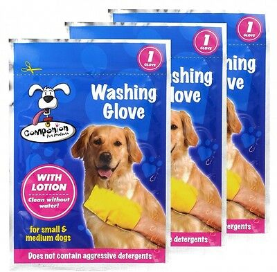 3 Dog Wash Gloves Washing Pet Cleaning Mitt No Water Needed With Lotion Grooming
