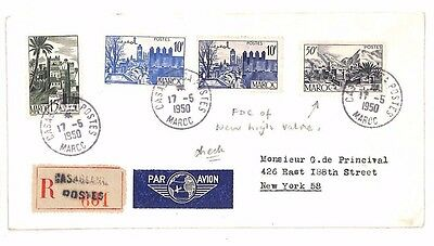 BF244 1950 MOROCCO Casablanca Registered First Day Cover USA New York Airmail