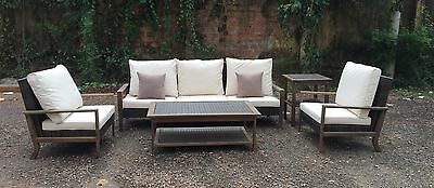 New Twin Wood Thick Rattan Wicker Conservatory Outdoor Garden Furniture Set