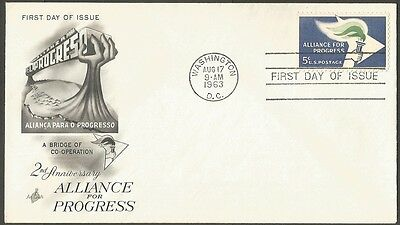 Us Fdc 1963 Alliance For Progress 5C Stamp Ac First Day Of Issue Cover